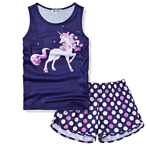 Unicorn Pajamas fot Girls Size 8 9 Little Kids Pjs Sets Sleeveless Night Shirt