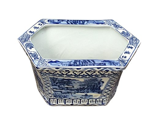 Blue and White Chinese Canton Planter// Cachepot