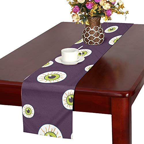 NQEONR Halloween Trick Treat Candies Table Runner, Kitchen Dining Table Runner 16 X 72 Inch for Dinner Parties, Events, Decor -