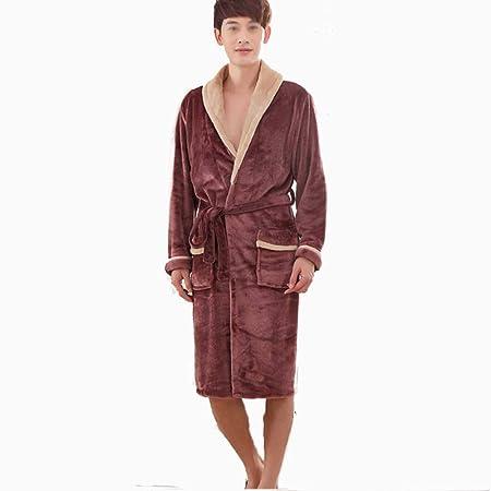 e6eac78236 HUIFANG Pajamas autumn and winter flannel long bathrobe hotel bathrobe home clothes  men s bathrobe (Color   BROWN