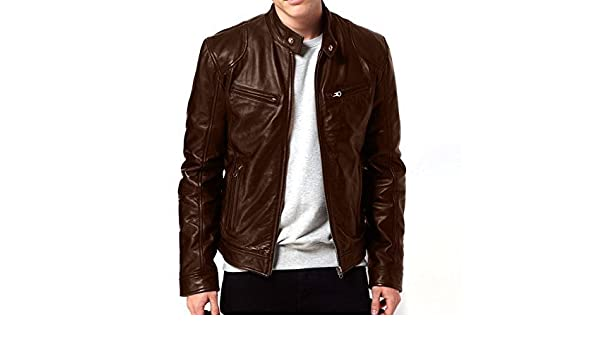 daa6d6bb1 V4M X RIDER BROWN GENUINE LEATHER JACKET at Amazon Men's Clothing store: