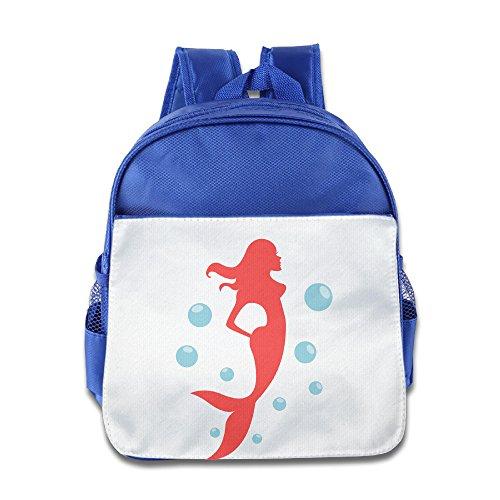 XJBD Custom Cute The Little Mermaid Kids School Bag For 1-6 Years Old RoyalBlue