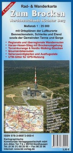 Zum Brocken: Rad- und Wanderkarte Maßstab 1:25 000