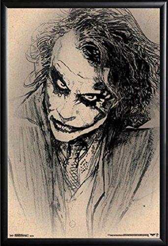 Framed Dark Knight - Sketch 22x34 Art Poster in Matte Black Finish Wood Frame Joker Heath Ledger