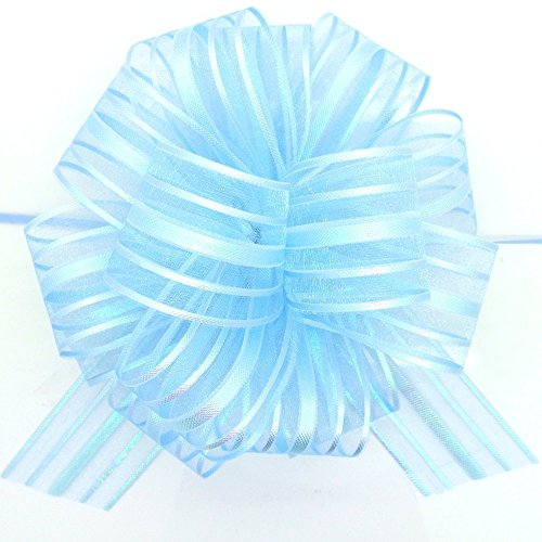 FQTANJU Pull Bow, Large, Organza, 6 Inches, 5 Pieces, Light Blue
