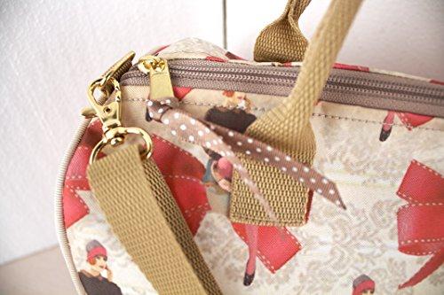 Ravedoll Borsa Bauletto Fiocchi - Borsa stile Vintage in tela sintetica resistente e impermeabile.