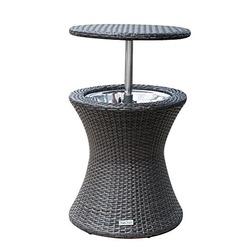 PatioPost Cool Table PE Wicker Style Outdoor Patio Pool Cooler Bar, Brown For Sale