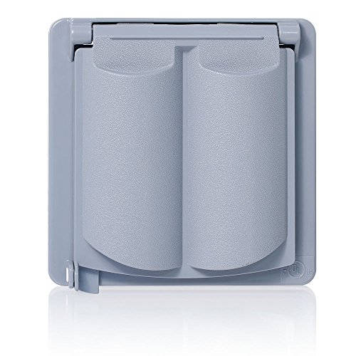 Flat Plastic Receptacle Lid (Leviton WP2V-GY Weatherproof Cover, Plastic Flat Lid, 2-Gang Decora, GFCI Or Duplex Receptacle Or Single Receptacle, Horizontal Mount, Gray)