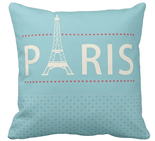 Decorbox Blue Paris Pink Love Romantic Pattern 18x18 Inch Cotton Polyester Square Throw Pillow Case Decorative Durable Cushion Slipcover Home Decor Standard Size Accent Pillowcase Slip Cover (London Themed Pillows)