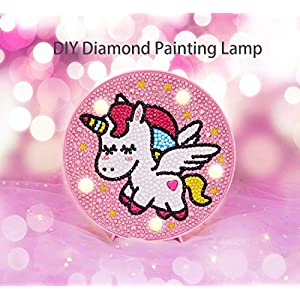 5D DIY Diamond Painting Complet pour Enfant Licorne Veilleuse Bébé Mosaque Diamant Night Light Lampe 2