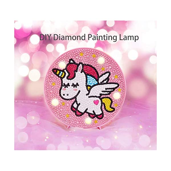 5D DIY Diamond Painting Complet pour Enfant Licorne Veilleuse Bébé Mosaque Diamant Night Light Lampe 1