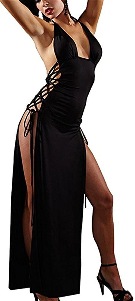 Befox Donna Alta fessura Camicia da notte nera Split Cocktail Party Dress Club