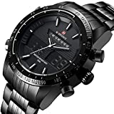 NAVIFORCE Men's Stainless Steel Digital LED Quartz Military Sports Wrist Watch with GORBEN Box