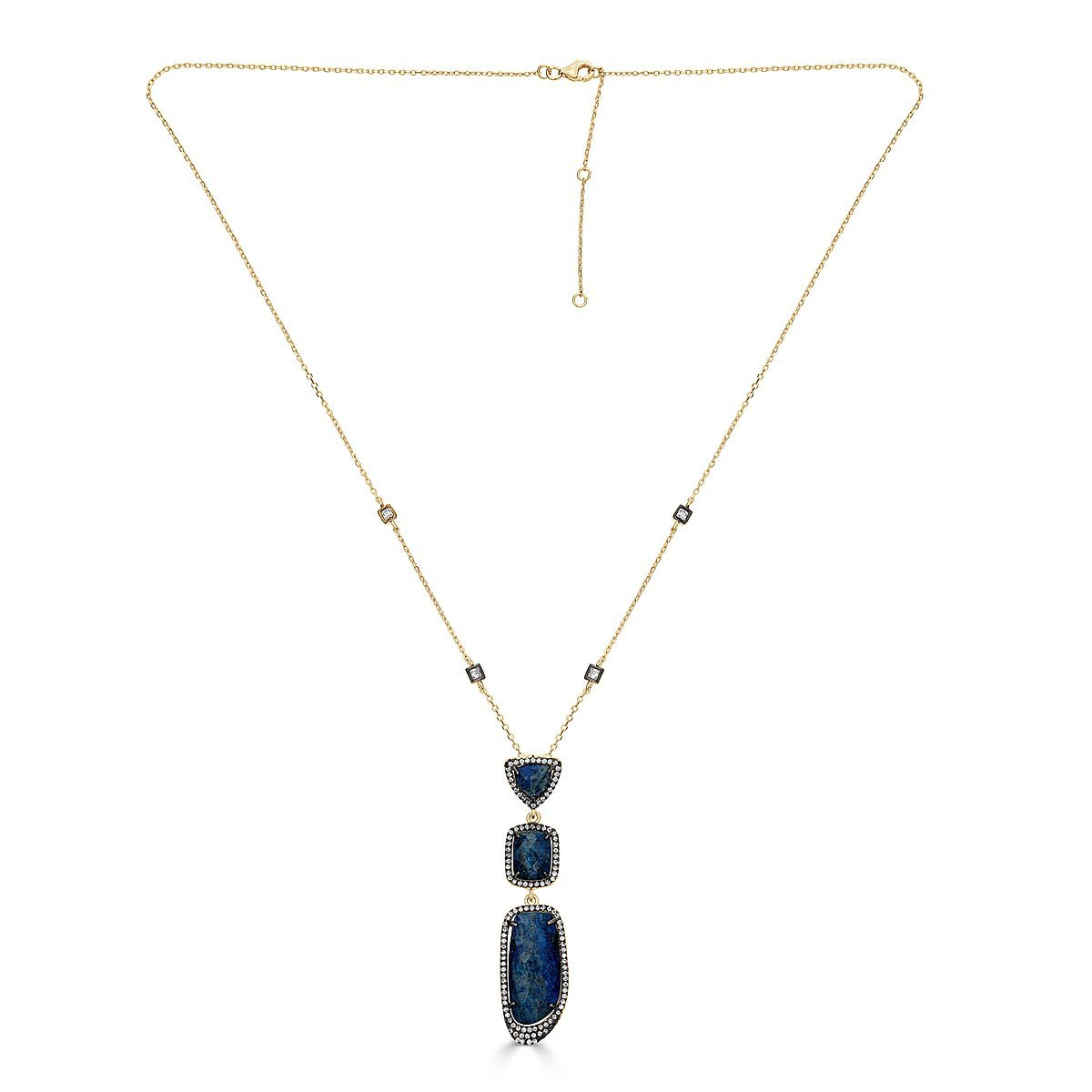 Gold Plated Sterling Silver Lapis Necklace