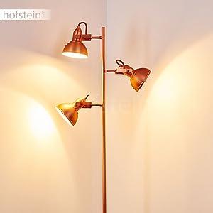 Lampadaire Sourdeval en métal cuivré - Lampadaire pour bureau - chambre - salon - ce lampadaire a un interrupteur à pied sur le câble.