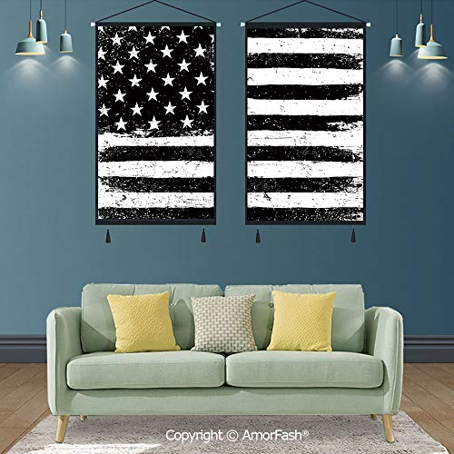 SCOXIXI United States,Artwork Print Poster Hangers Frames Hanging for Office,for bedroomkitchen,Grunge Aged Black and White American Flag Independence Fourth of July Decor Decorative