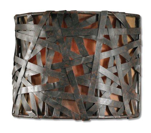 Uttermost 22463 Alita 1-Light Wall Sconce, Rust Black Finish, Aged Silver -
