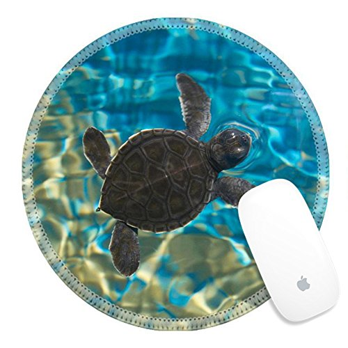 Luxlady Natural Rubber Round Gaming Mousepads Baby turtle swimming in water IMAGE ID 26144432