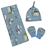 Kadambaby - 100% cotton swaddle blanket, Cap and mitten set - swaddle wrap for newborn - adorable printed Summer swaddle wrap - newborn gift set - blue farm print