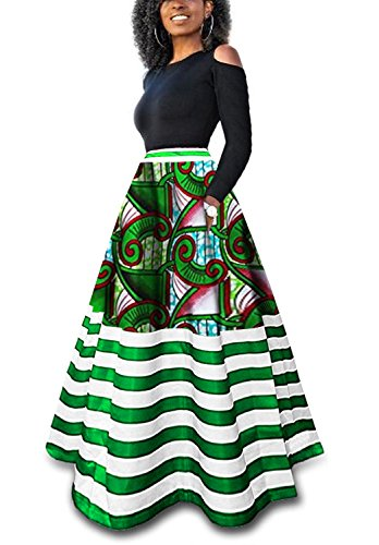 Runcati Womens African Maxi Skirt Dashiki Floral Print Striped Long A Line Ball Grown Skirt with (Traditional Chic Green)
