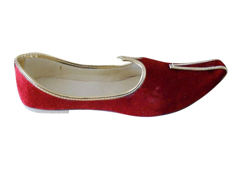 kalra Creations Zapatos de terciopelo tradicional de la India boda para hombre, color crema, talla 40.5 EU M