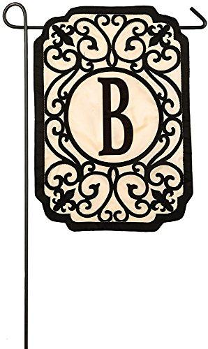 Evergreen Filigree Monogram B Applique Garden Flag, 12.5 x 18 inches