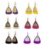 Efulgenz Indian Vintage Retro Ethnic Gypsy Oxidized Gold Tone Boho Enamelled Dangle Drop Hook Earrings for Girls and Women Love Gift (Combo 1)