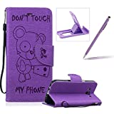 Case For Samsung Galaxy J5 2016 J510,Smart Case for Samsung Galaxy J5 2016 J510,Herzzer Stylish Cute Bear Don't Touch My Phone Design PU Leather Wallet Case Stand Flip Case with Credit Card Slot for Samsung Galaxy J5 2016 J510,Purple