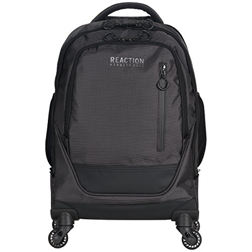 """Kenneth Cole Reaction 1680d Coated Polyester Double Gusset 4-Wheel 17.0"""" Computer Laptop Backpack, Pin Dot Charcoal, One Size ()"""