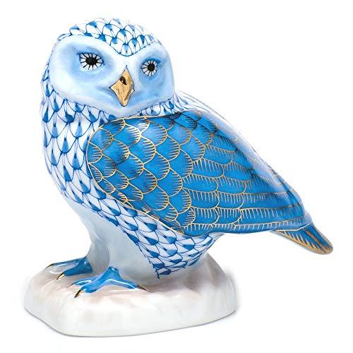 Herend Burrowing Owl Porcelain Figurine Blue Fishnet