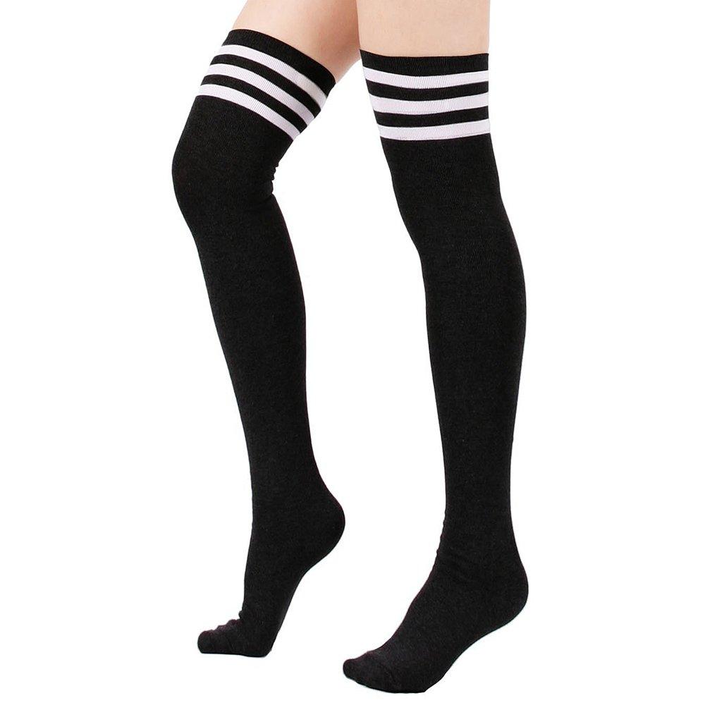 Donne Stripe Triple stile calcio Baseball Calcio Sport sopra ginocchio lunghezza caviglia calze tubo Socks Vococal