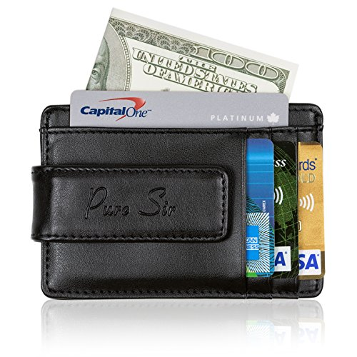Pure Sir Mens RFID Genuine Leather Slim Wallets w/ Money Clip - The Minimalist Wallet Leather Magnetic Money Clip Wallet