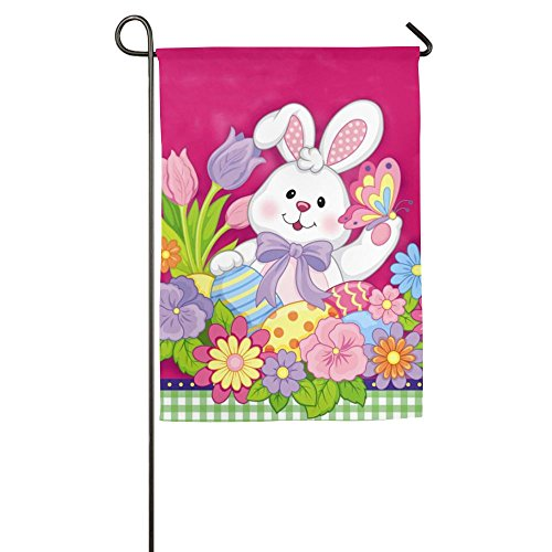 Happy Rabbit With Flowers Garden Flag House Banner 1218inch Decorative Flag For Wedding Party Yard Home Indoor Outdoor Holiday Decor (Dallas Stars Halloween Party)
