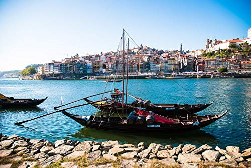 Peel-n-Stick Poster of Port Wine Rabelo Boat Porto Portugal River Douro Vivid Imagery Poster 24 x 16 Adhesive Sticker Poster Print ()