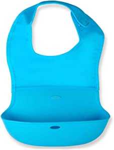 Waterproof Adult Bibs with Pocket Silicone Washable Clothing Protector Reusable Apron Mealtime Crumb Catcher (6 mos+)