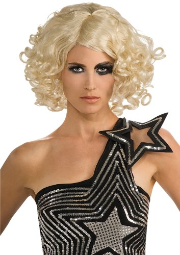 Lady Gaga Curly Hair Wig,Blonde,One Size