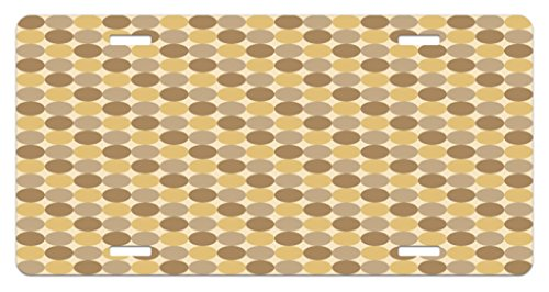 - Lunarable Beige License Plate, Simplistic Pattern of Several Brown Tone Circles for Geometric Vintage Style Print, High Gloss Aluminum Novelty Plate, 5.88 L X 11.88 W Inches, Multicolor