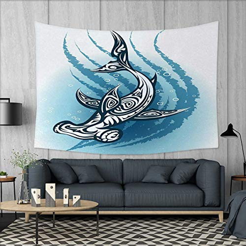 Anniutwo Shark Art Wall Decor Hammerhead Fish with Ornamental Ethnic Effects Swimming Ocean Image Tapestry Wall Tapestry W60 x L51 (inch) Dark and Petrol Blue White