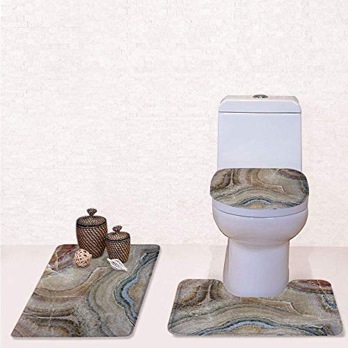 (3 Pcs Soft Bathroom Rug Set Includes Bath Mat, Contour Rug ,Lid Cover,Surreal Onyx Stone Surface Pattern with Nature Details Artistic Picture Decorative with Cinnamon Grey Tan Beige,decorate bathro)
