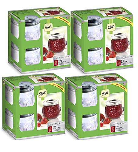 (Ball Jelly Elite Collection Embossed Jam Jar (4 Packs of 4), 8 oz half pint,)