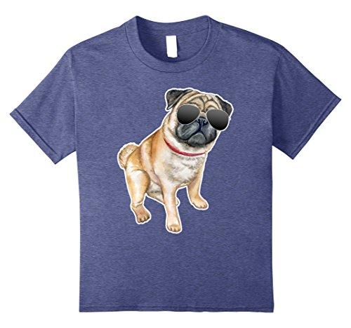 Cool Pug DogShirt Gift For Boys & Girls 10 Heather Blue (Funny Pug)