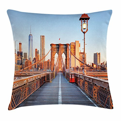 New York Christmas Dinner - City Throw Pillow Cushion Cover by Ambesonne, New York Skyline Closeup Brooklyn Bridge in Manhattan over Hudson River, Decorative Square Accent Pillow Case, 20 X 20 Inches, Orange Pale Blue Grey
