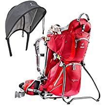 Deuter Kid Comfort 2 Cranberry Fire Kid Carrier with Sun Roof and Rain Shield