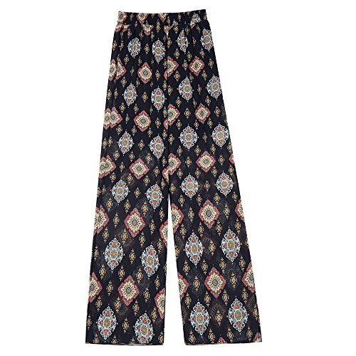 Chiffon Donna Dritti Pantaloni Tempo Lunga Colore,3 Moda Alta Libero Pattern Ragazza Basic Estivi Strato Doppio Eleganti Spacco Elastica Baggy Stampate AXddq