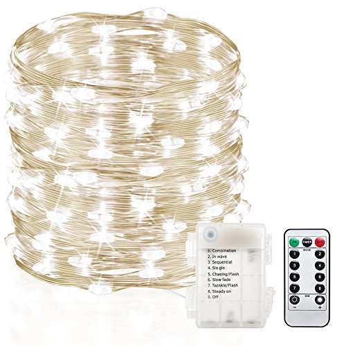 GDEALER 120 Led 39ft Fairy Lights Fairy String Lights Battery Operated Waterproof 8 Modes Remote Control String Lights Copper Wire Firefly lights Christmas Decor Christmas Lights Cool White Light Fire Battery