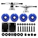 "VJ Skateboard Combo 5"" Trucks Silver, 52mm Skateboard Wheels, Abec7 Bearings, Screws, Riser Pads, Spacers"