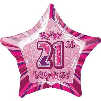 Happy 21st Birthday Pink Foil Balloon Amazoncouk Kitchen Home