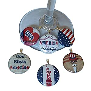 Patriotic American Wine Glass Charms - Set of 6 Handmade Wine Glass Charms. Always know which glass is yours with these wine markers!