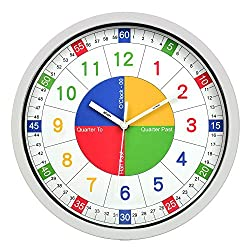Fanyuanfds Kids Wall Clock,12 inch Colorful Arabic Numbers,Quartz Battery Operated Wall Clock, for Living Room Bedroom School Classroom(White Frame)