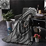 SSKJTC Eye Grey Throw Blanket Robot Eye Wires Technology Couch Bed Napping Reading Recliner W54 xL72